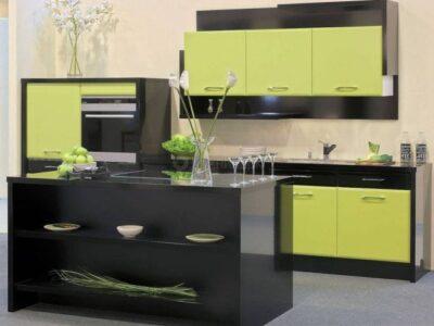 Кухня МДФ 06 — чёрный глянец
